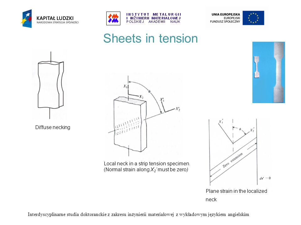 Sheets in tension Diffuse necking