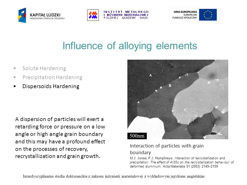 Influence of alloying elements