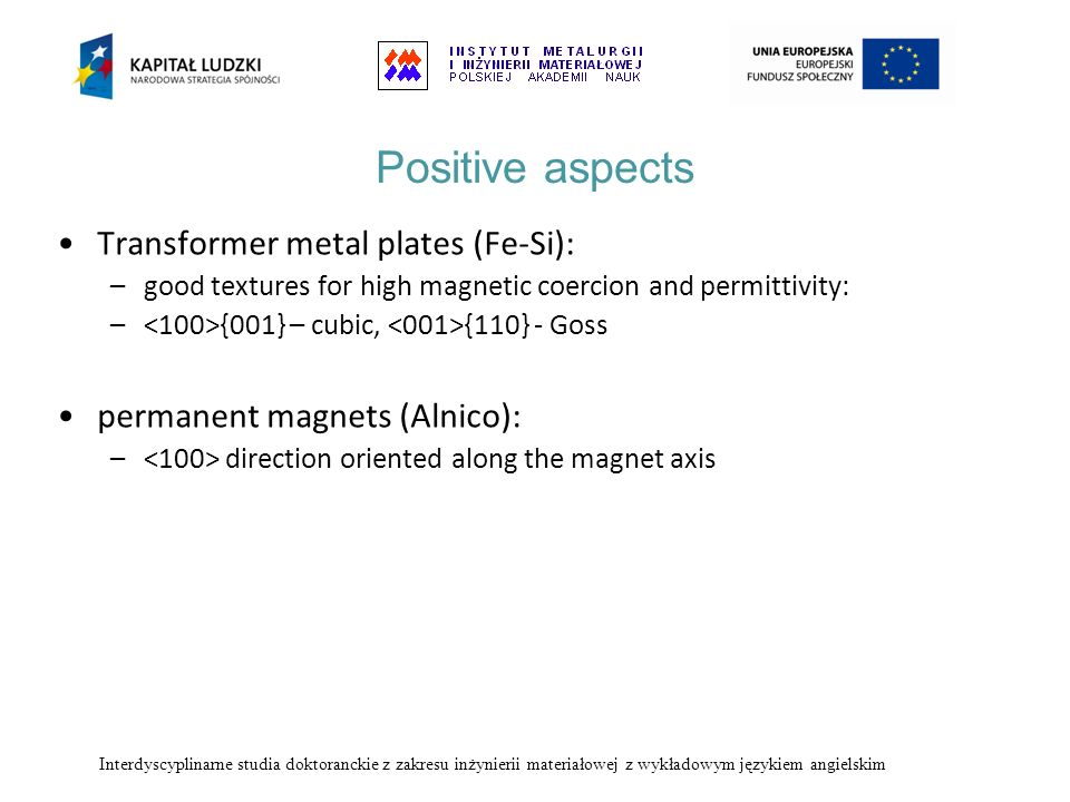 Positive aspects Transformer metal plates (Fe-Si):