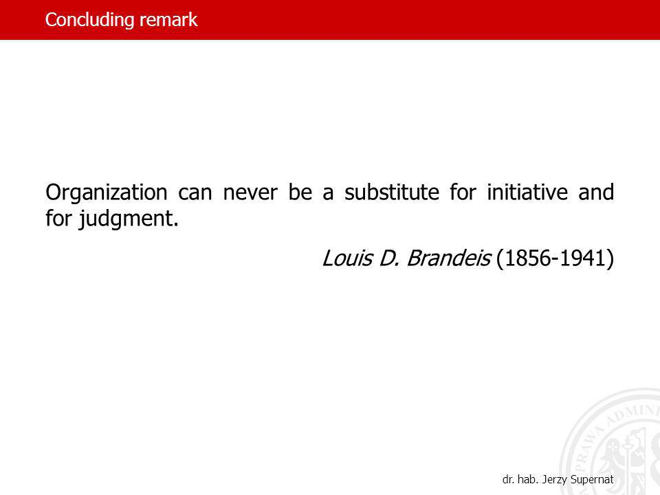 Concluding remark Organization can never be a substitute for initiative and for judgment. Louis D. Brandeis (1856-1941)