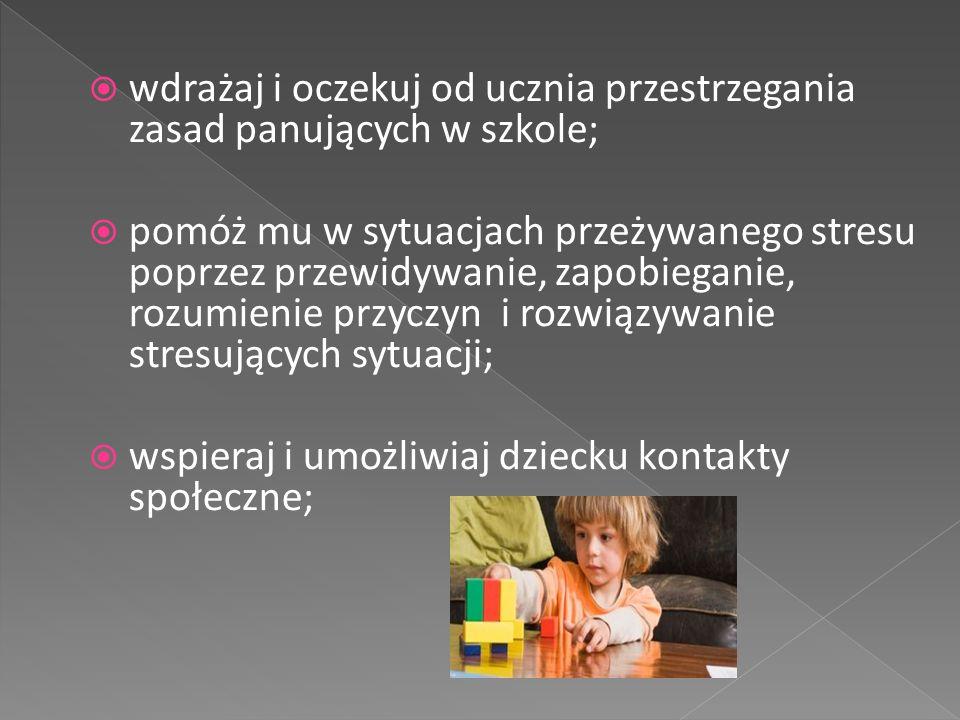 wdrażaj i oczekuj od ucznia przestrzegania zasad panujących w szkole;