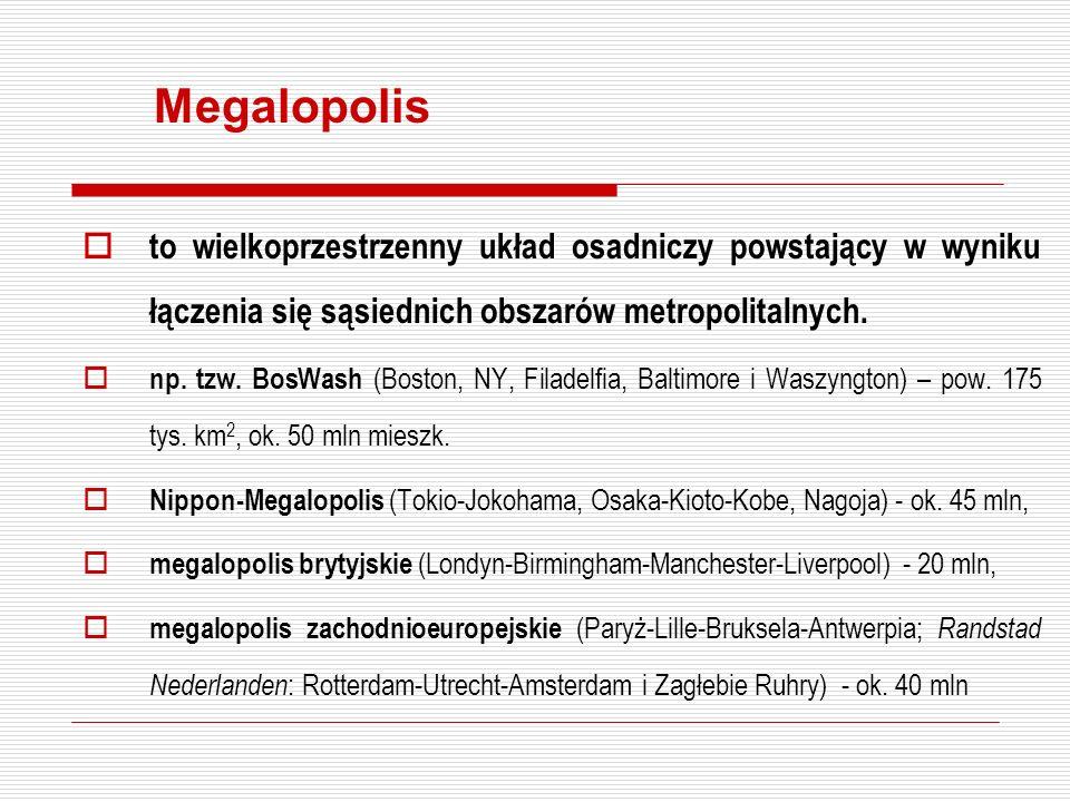 Megalopolis to wielkoprzestrzenny układ osadniczy powstający w wyniku łączenia się sąsiednich obszarów metropolitalnych.