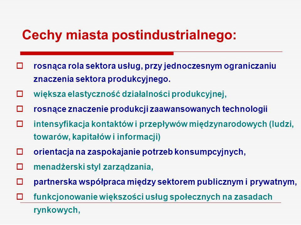Cechy miasta postindustrialnego: