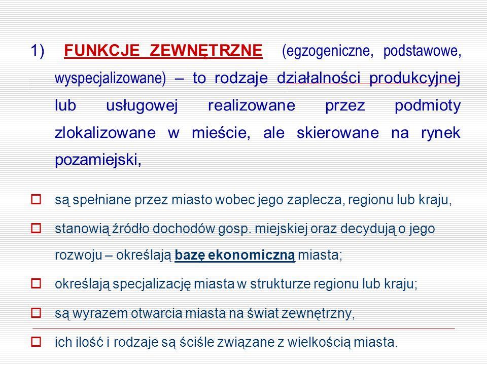 1) FUNKCJE ZEWNĘTRZNE (egzogeniczne, podstawowe, wyspecjalizowane) – to rodzaje działalności produkcyjnej lub usługowej realizowane przez podmioty zlokalizowane w mieście, ale skierowane na rynek pozamiejski,