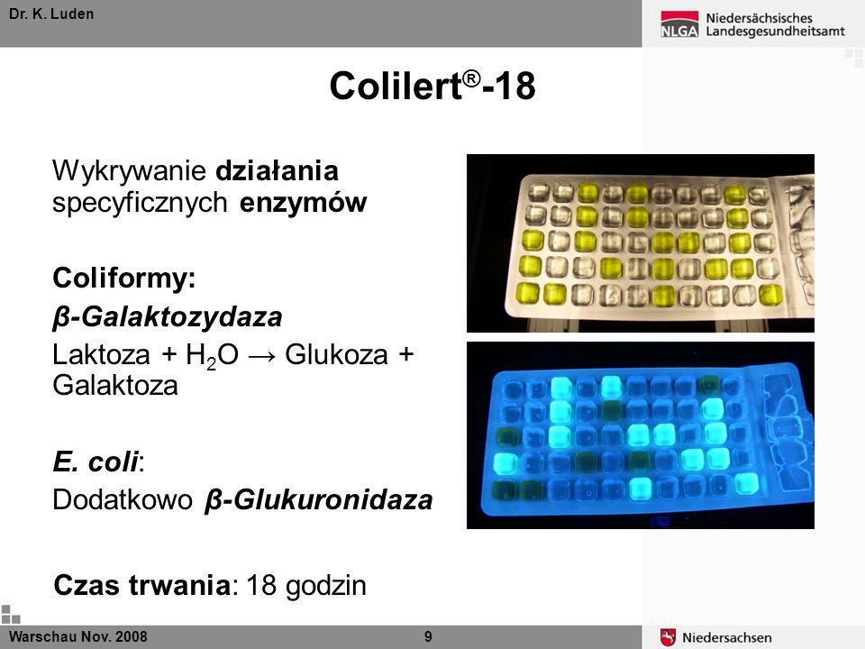 Colilert®-18 Wykrywanie działania specyficznych enzymów Coliformy: