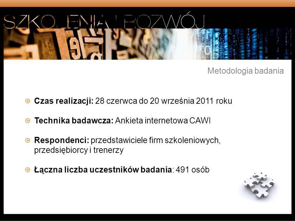 Metodologia badaniaCzas realizacji: 28 czerwca do 20 września 2011 roku. Technika badawcza: Ankieta internetowa CAWI.