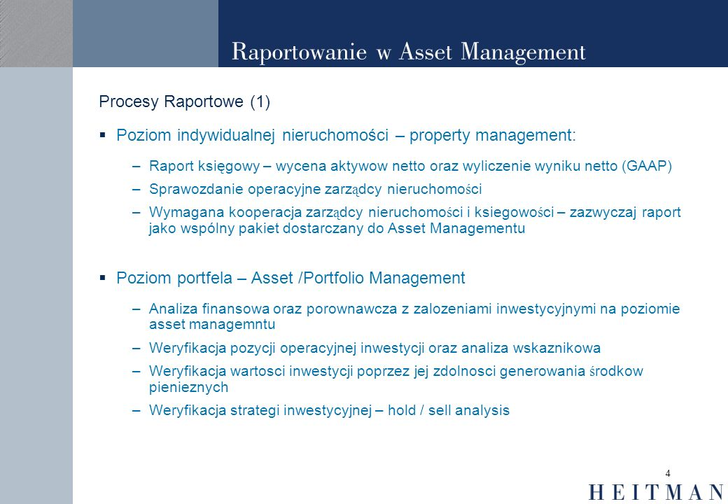 Raportowanie w Asset Management