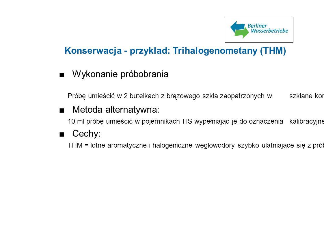 Konserwacja - przykład: Trihalogenometany (THM)