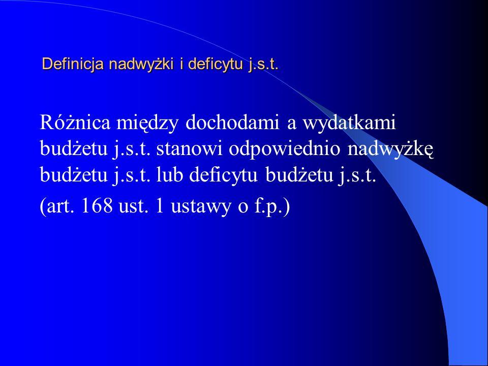 Definicja nadwyżki i deficytu j.s.t.