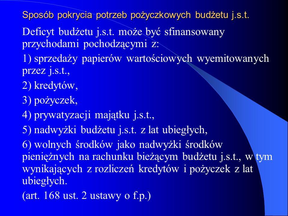 Sposób pokrycia potrzeb pożyczkowych budżetu j.s.t.