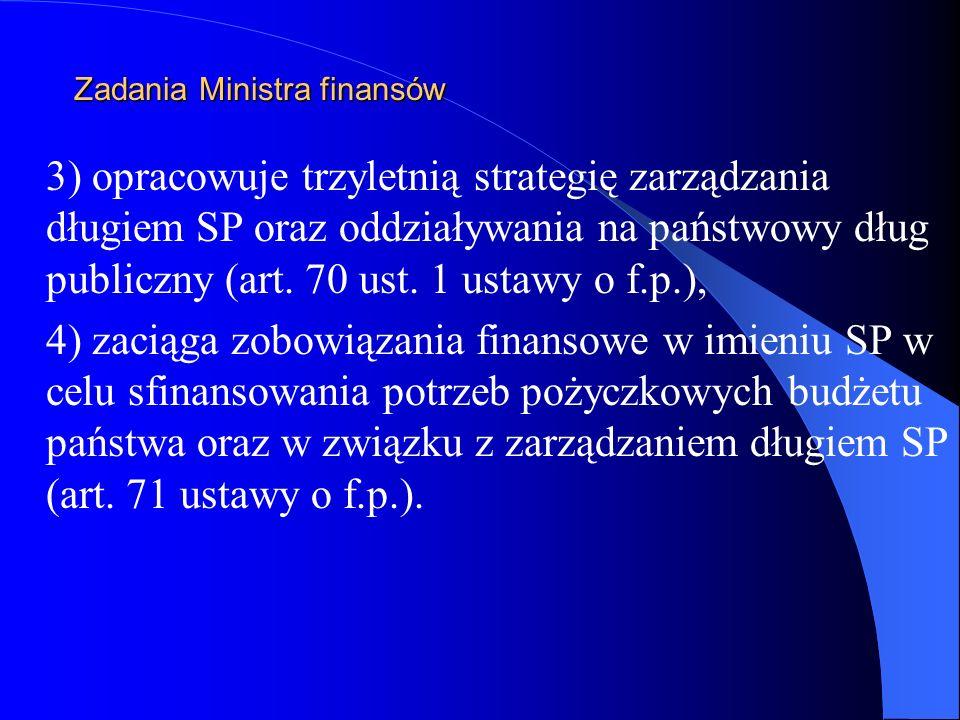 Zadania Ministra finansów