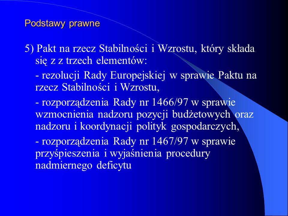 Podstawy prawne5) Pakt na rzecz Stabilności i Wzrostu, który składa się z z trzech elementów:
