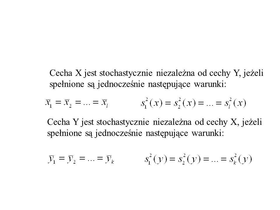 Cecha X jest stochastycznie niezależna od cechy Y, jeżeli spełnione są jednocześnie następujące warunki: