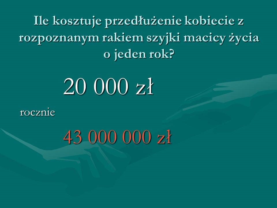 Ile kosztuje przedłużenie kobiecie z rozpoznanym rakiem szyjki macicy życia o jeden rok