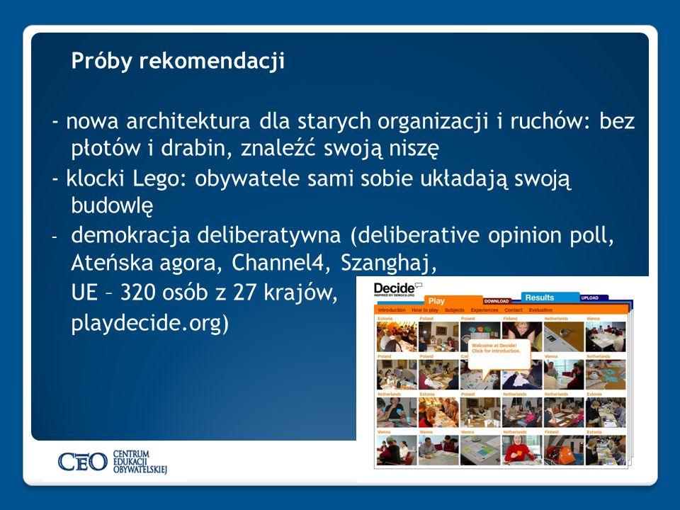 Próby rekomendacji- nowa architektura dla starych organizacji i ruchów: bez płotów i drabin, znaleźć swoją niszę.