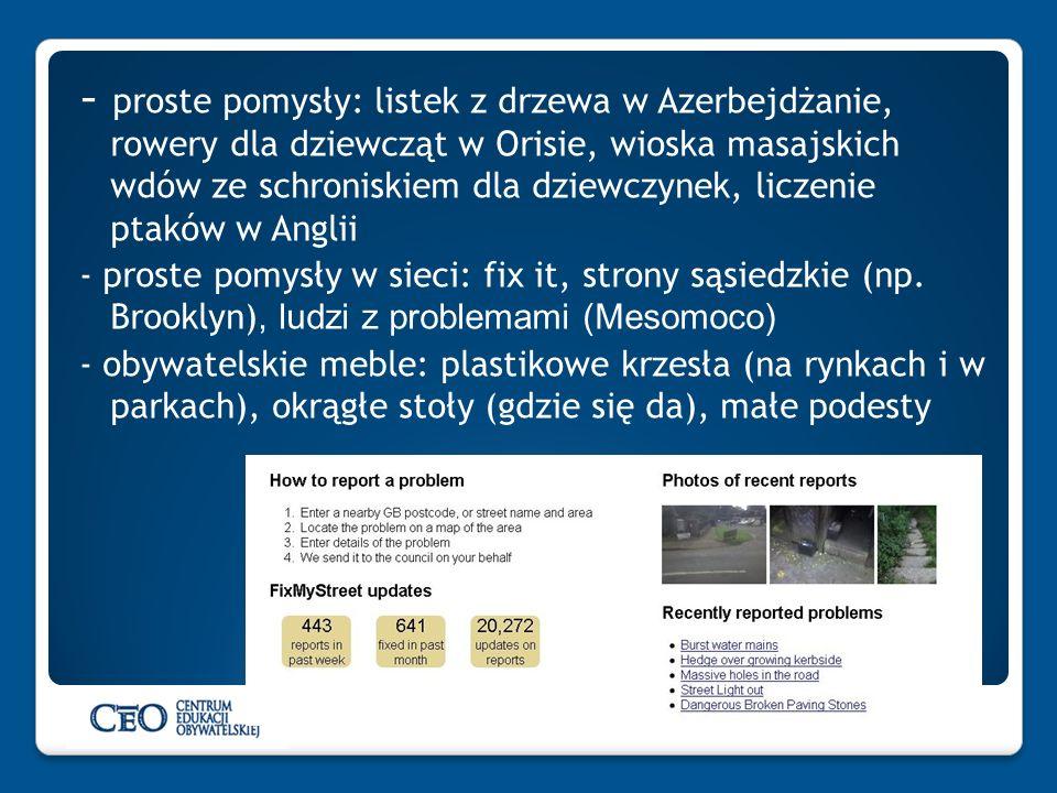 - proste pomysły: listek z drzewa w Azerbejdżanie, rowery dla dziewcząt w Orisie, wioska masajskich wdów ze schroniskiem dla dziewczynek, liczenie ptaków w Anglii