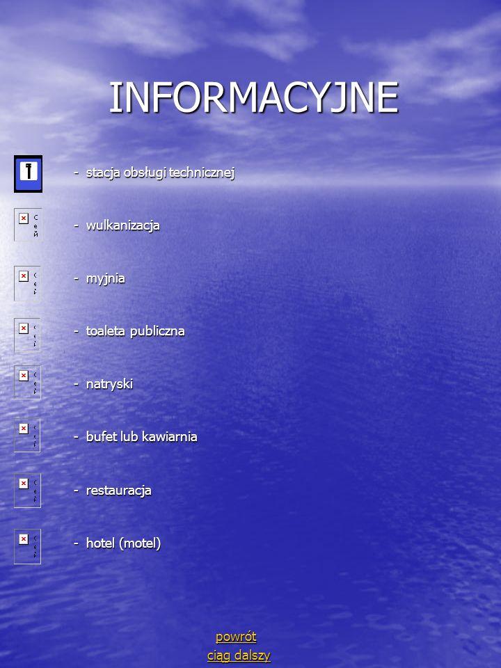 INFORMACYJNE - stacja obsługi technicznej - wulkanizacja - myjnia
