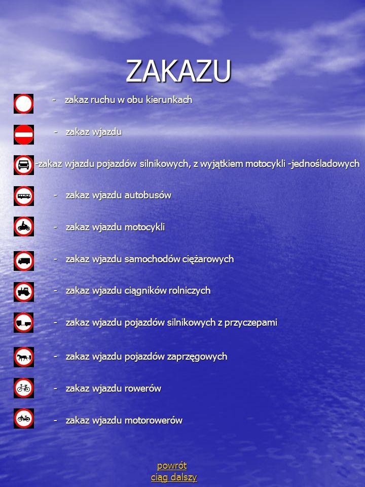 ZAKAZU - zakaz ruchu w obu kierunkach - zakaz wjazdu