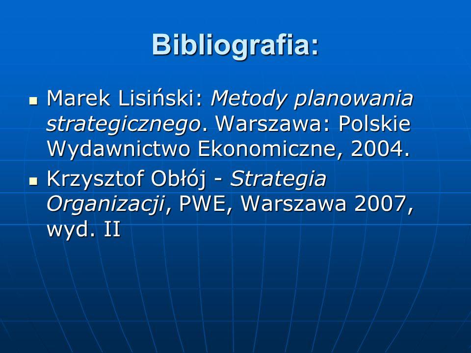 Bibliografia: Marek Lisiński: Metody planowania strategicznego. Warszawa: Polskie Wydawnictwo Ekonomiczne, 2004.