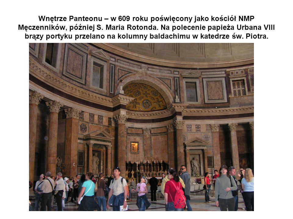 Wnętrze Panteonu – w 609 roku poświęcony jako kościół NMP Męczenników, później S.