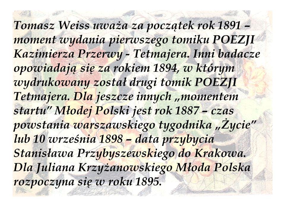 Tomasz Weiss uważa za początek rok 1891 – moment wydania pierwszego tomiku POEZJI Kazimierza Przerwy - Tetmajera.