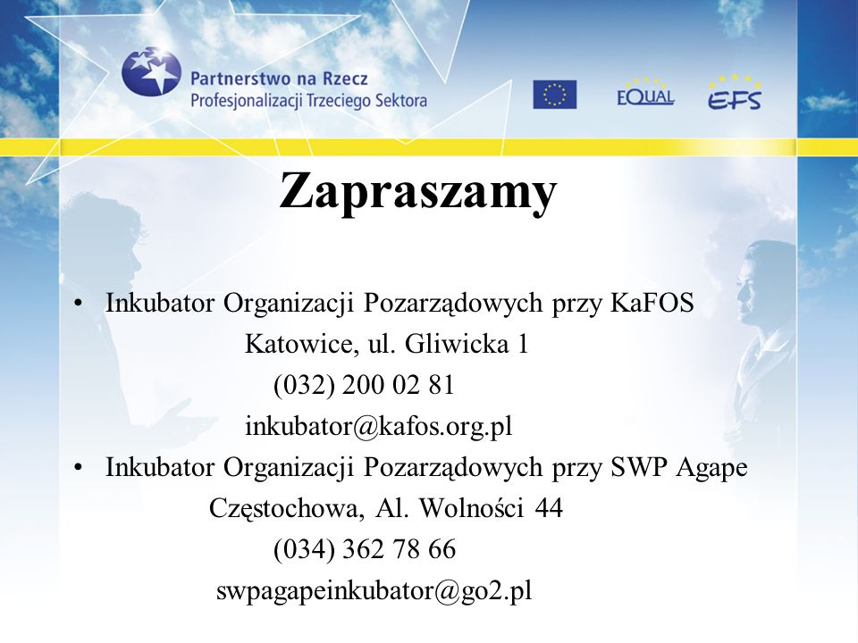Zapraszamy Inkubator Organizacji Pozarządowych przy KaFOS