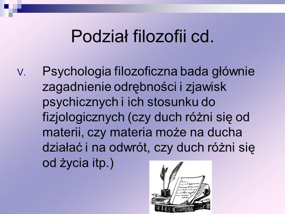 Podział filozofii cd.
