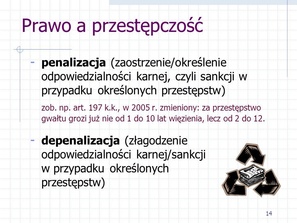 Prawo a przestępczośćpenalizacja (zaostrzenie/określenie odpowiedzialności karnej, czyli sankcji w przypadku określonych przestępstw)