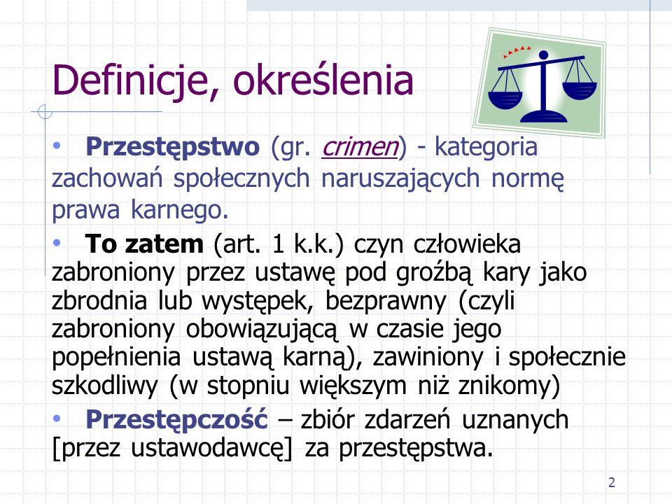 Definicje, określenia Przestępstwo (gr. crimen) - kategoria zachowań społecznych naruszających normę prawa karnego.