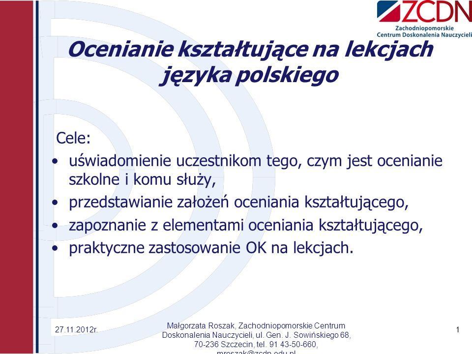 Ocenianie kształtujące na lekcjach języka polskiego