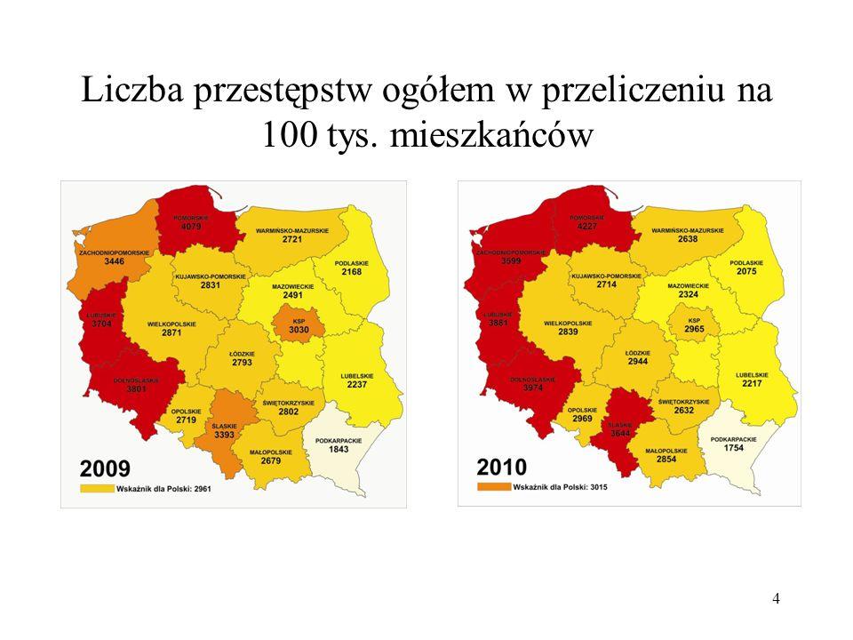 Liczba przestępstw ogółem w przeliczeniu na 100 tys. mieszkańców