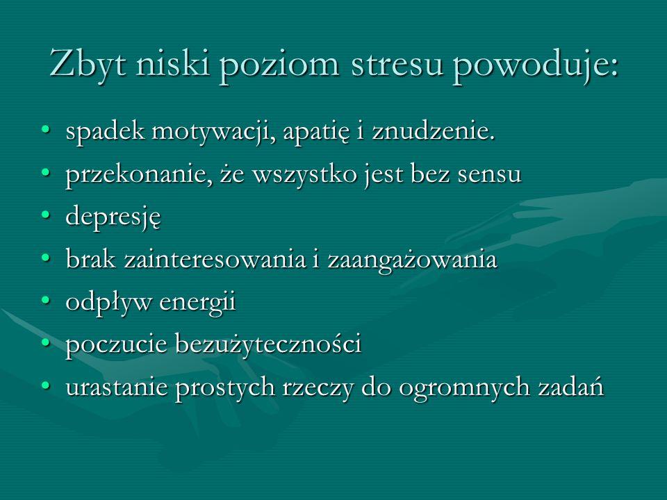 Zbyt niski poziom stresu powoduje: