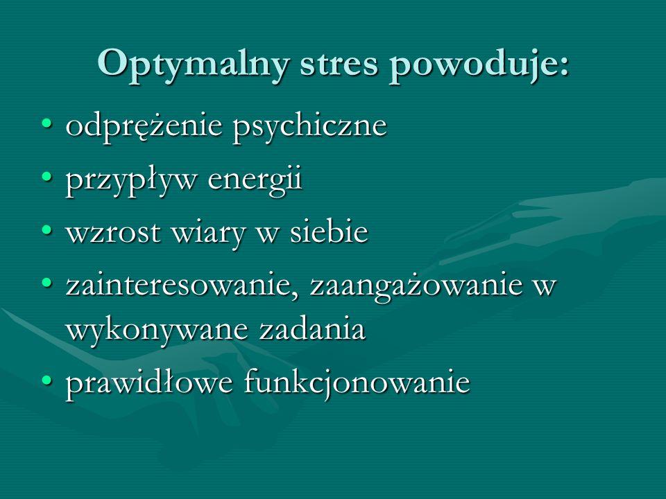 Optymalny stres powoduje:
