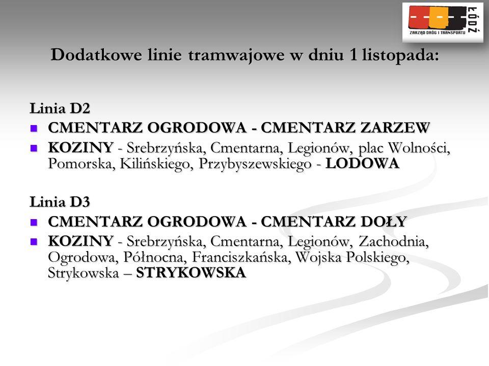 Dodatkowe linie tramwajowe w dniu 1 listopada: