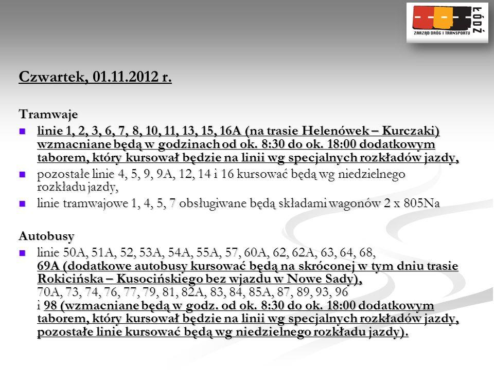 Czwartek, 01.11.2012 r.Tramwaje.