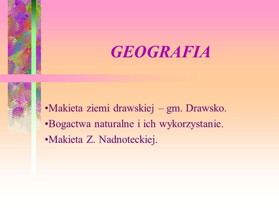 GEOGRAFIA Makieta ziemi drawskiej – gm. Drawsko.