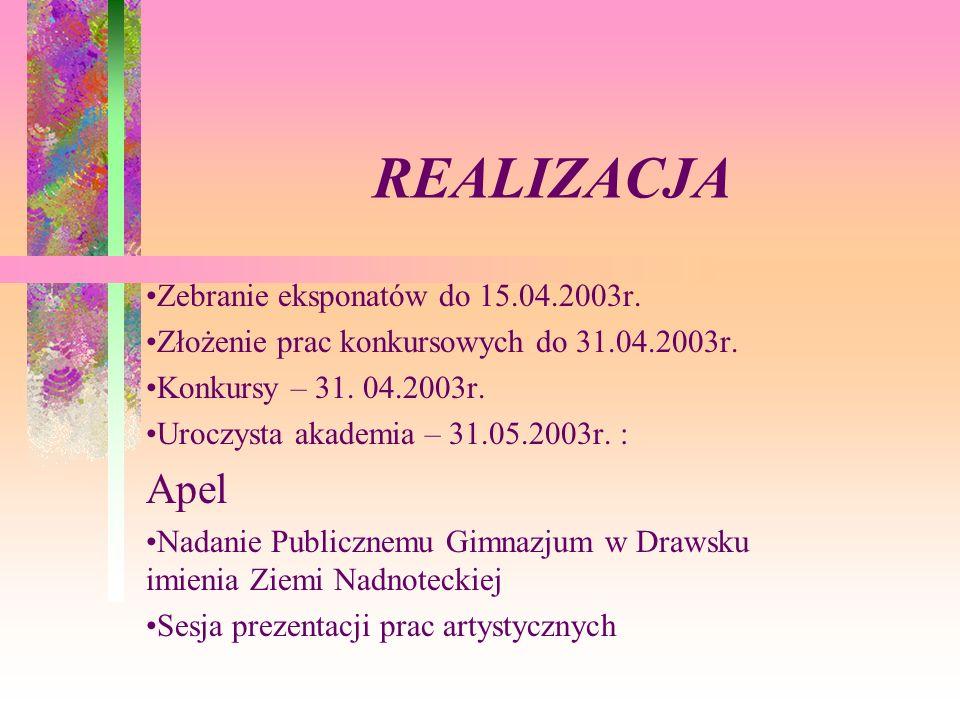 REALIZACJA Apel Zebranie eksponatów do 15.04.2003r.
