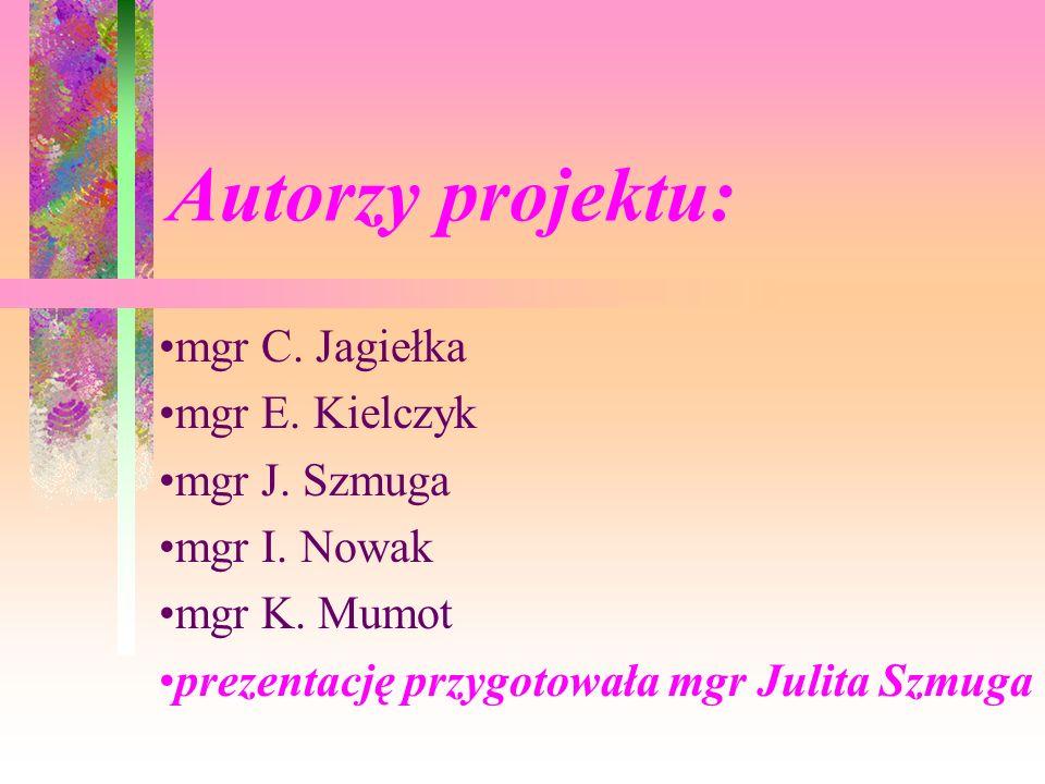 Autorzy projektu: mgr C. Jagiełka mgr E. Kielczyk mgr J. Szmuga