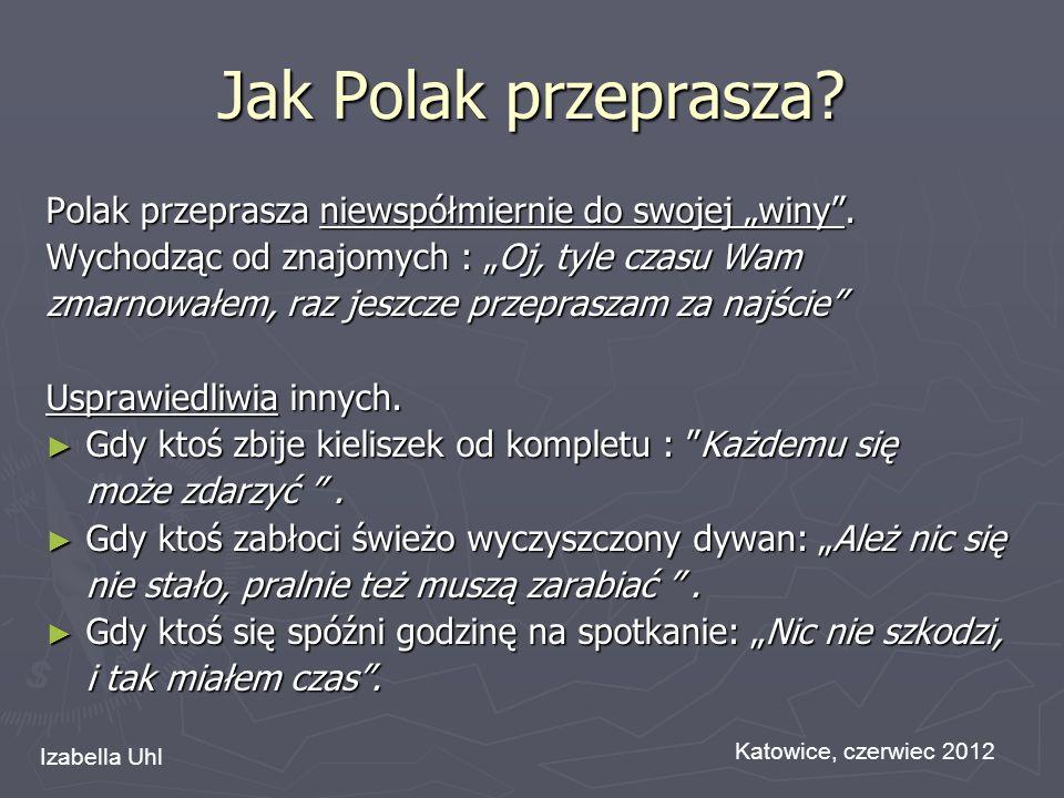 """Jak Polak przeprasza Polak przeprasza niewspółmiernie do swojej """"winy . Wychodząc od znajomych : """"Oj, tyle czasu Wam."""