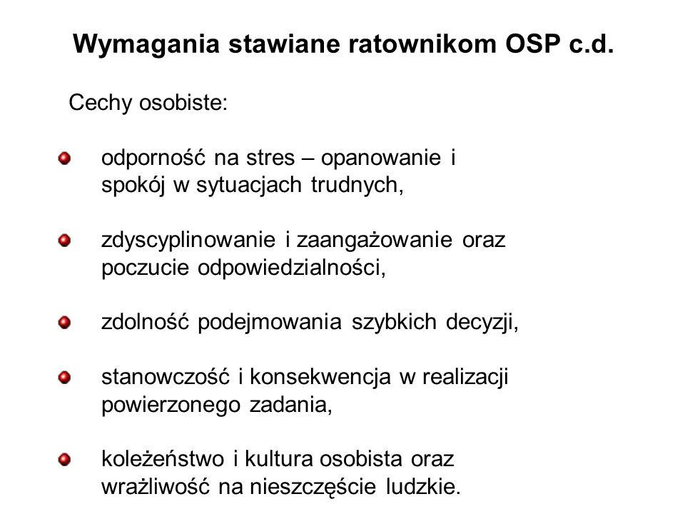 Wymagania stawiane ratownikom OSP c.d.