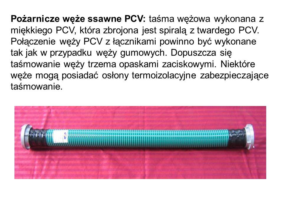 Pożarnicze węże ssawne PCV: taśma wężowa wykonana z miękkiego PCV, która zbrojona jest spiralą z twardego PCV.