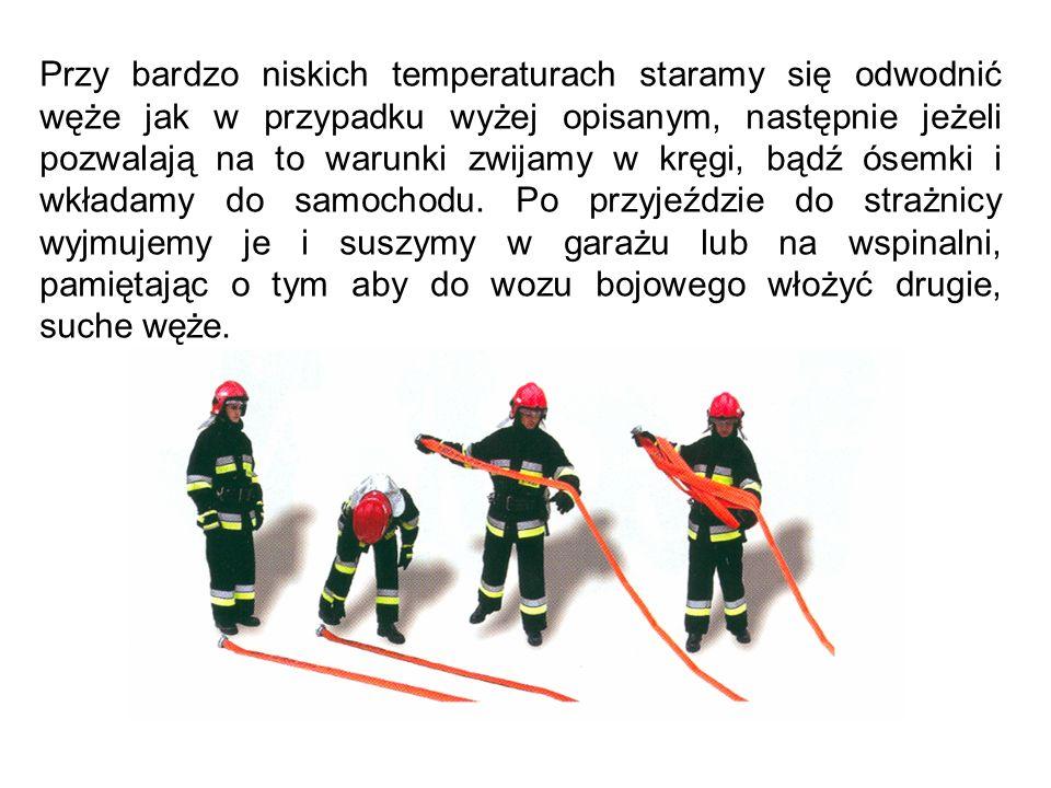 Przy bardzo niskich temperaturach staramy się odwodnić węże jak w przypadku wyżej opisanym, następnie jeżeli pozwalają na to warunki zwijamy w kręgi, bądź ósemki i wkładamy do samochodu.
