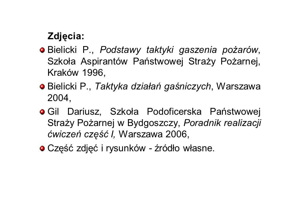 Zdjęcia: Bielicki P., Podstawy taktyki gaszenia pożarów, Szkoła Aspirantów Państwowej Straży Pożarnej, Kraków 1996,