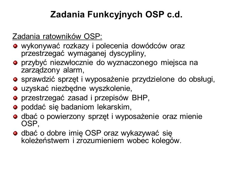 Zadania Funkcyjnych OSP c.d.