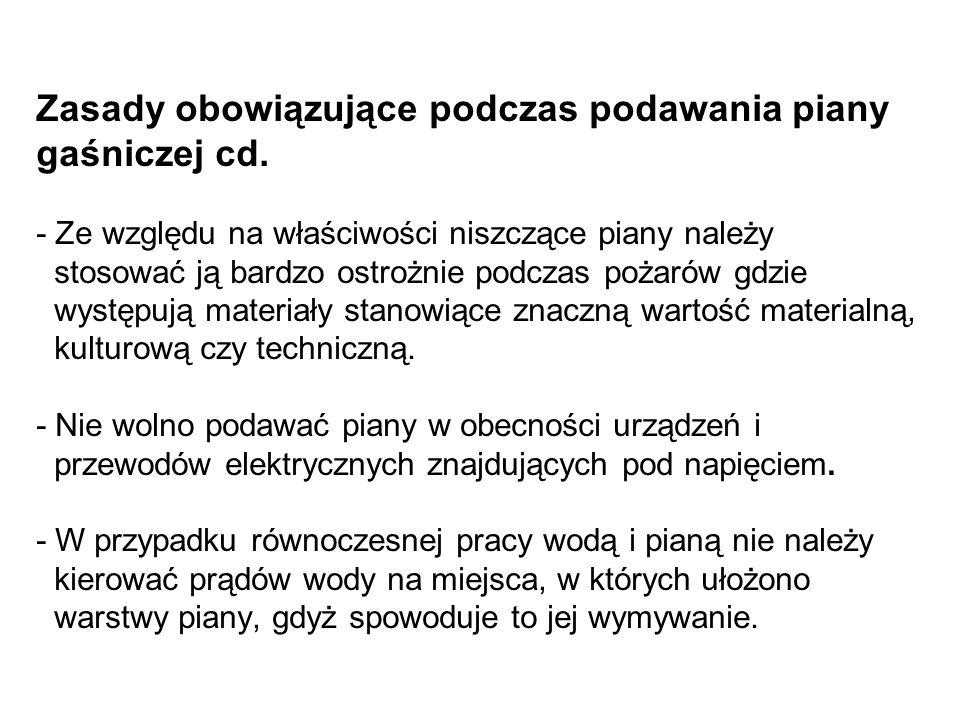 Zasady obowiązujące podczas podawania piany gaśniczej cd