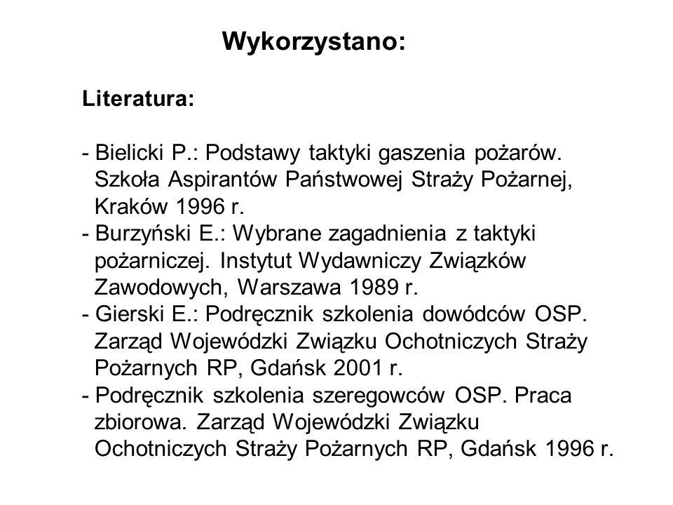 Wykorzystano: Literatura: - Bielicki P