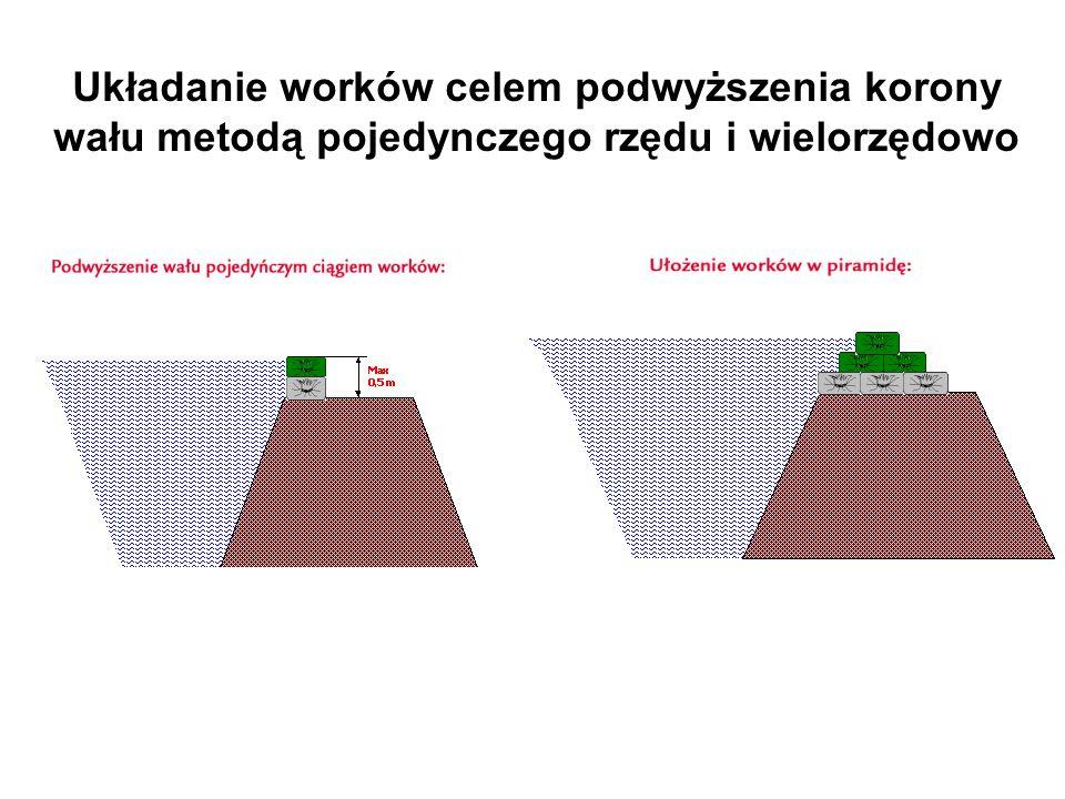 Układanie worków celem podwyższenia korony wału metodą pojedynczego rzędu i wielorzędowo