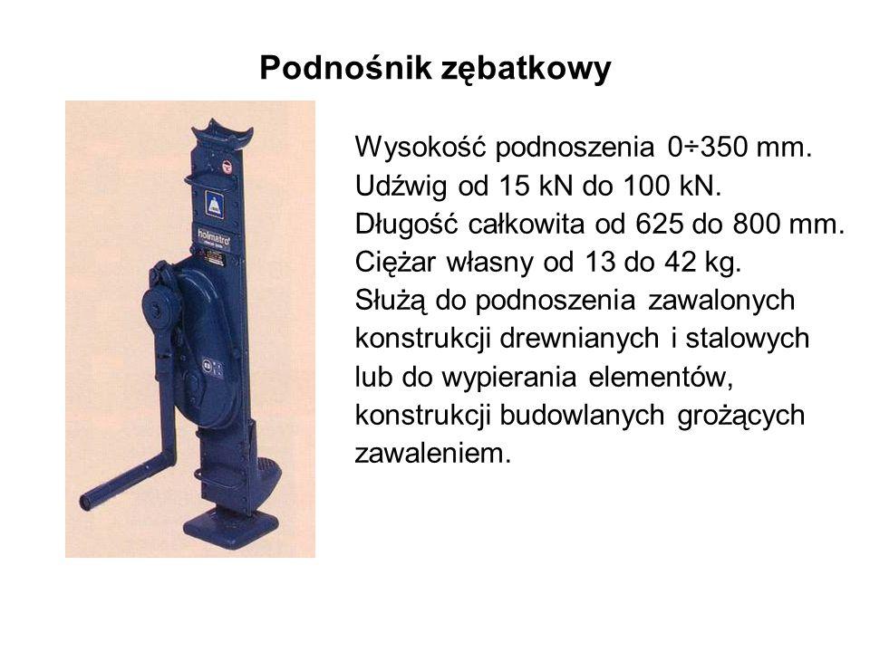 Podnośnik zębatkowy Wysokość podnoszenia 0÷350 mm.