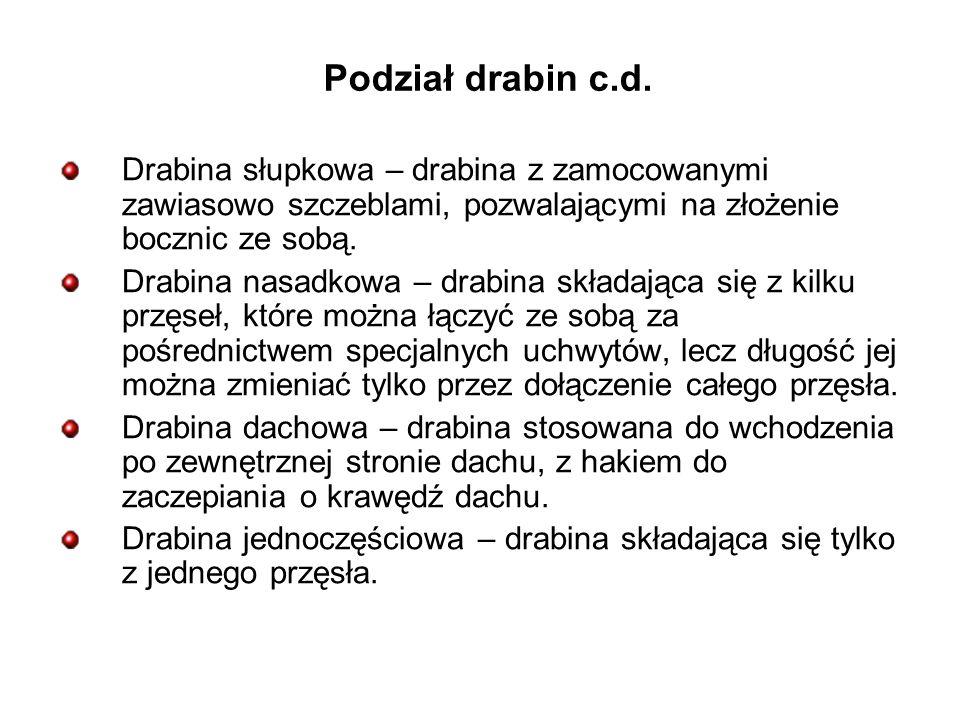 Podział drabin c.d. Drabina słupkowa – drabina z zamocowanymi zawiasowo szczeblami, pozwalającymi na złożenie bocznic ze sobą.