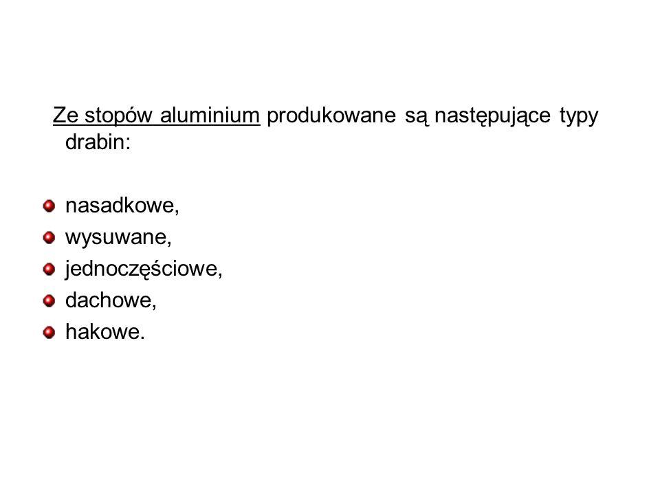 Ze stopów aluminium produkowane są następujące typy drabin: